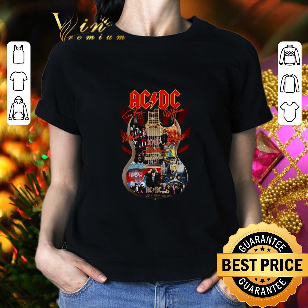 Cheap ACDC signatures guitar shirt