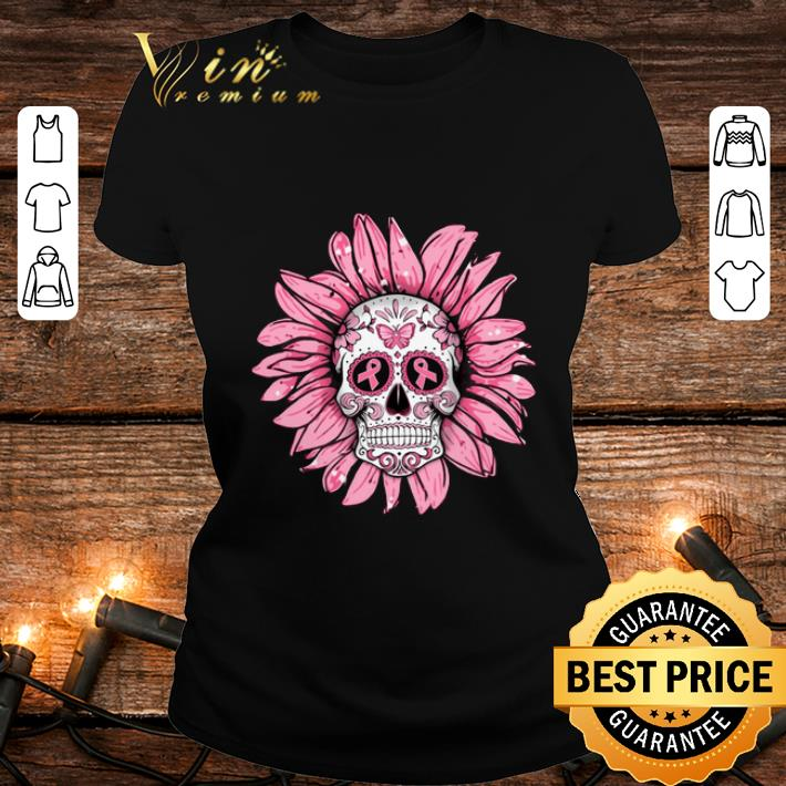 Cheap Breast Cancer Awareness Sugar Skull Sunflower shirt