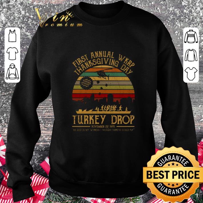 Cheap First annual wkrp thanksgiving day Turkey drop vintage shirt 3