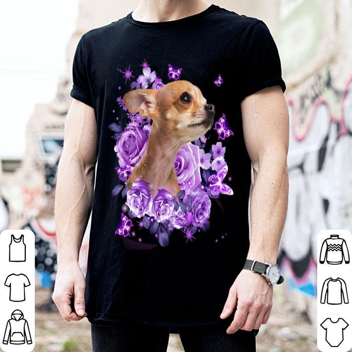 Chihuahua purple flowers shirt