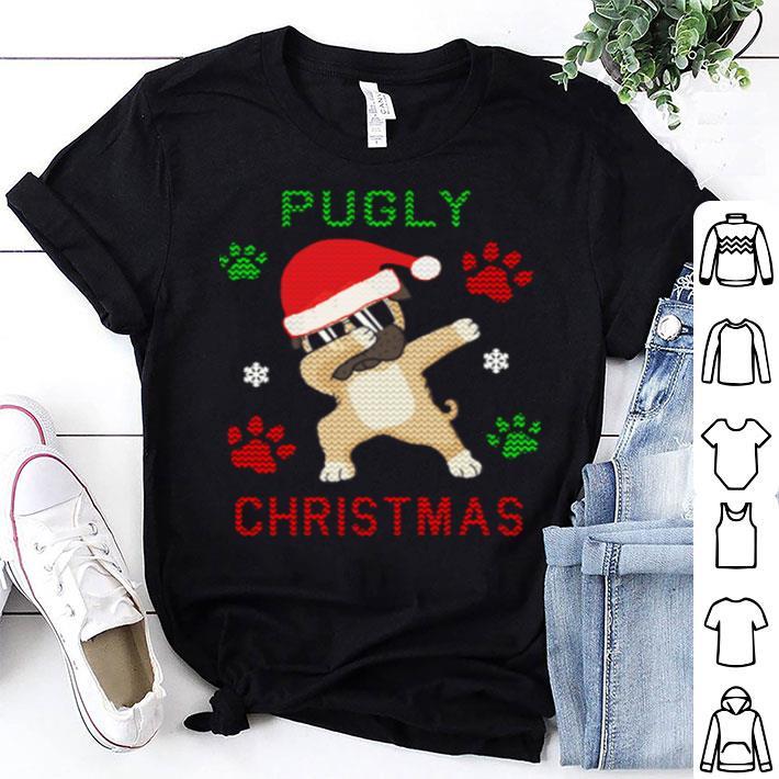 Dabbing Pug Pugly paws ugly Christmas shirt