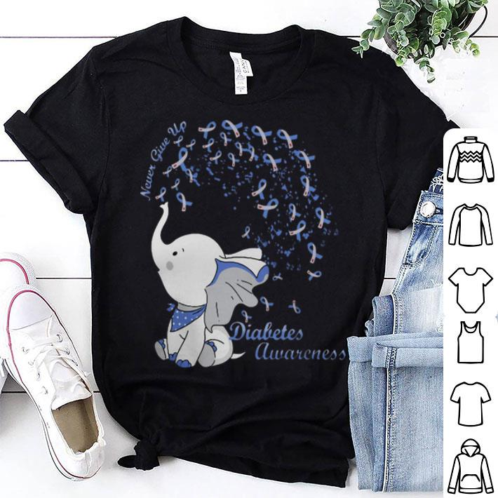Elephant Never Give Up Diabetes Awareness shirt