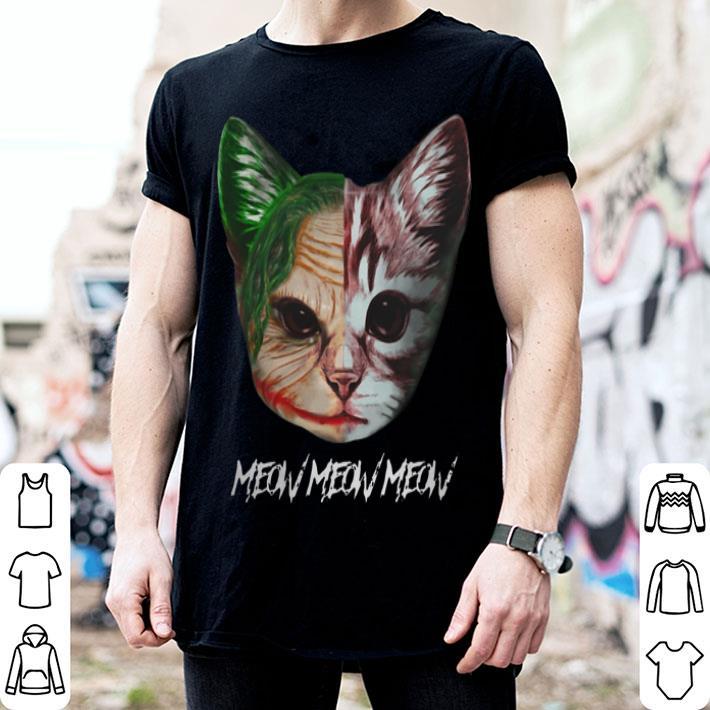 Face Joker cat meow meow meow shirt