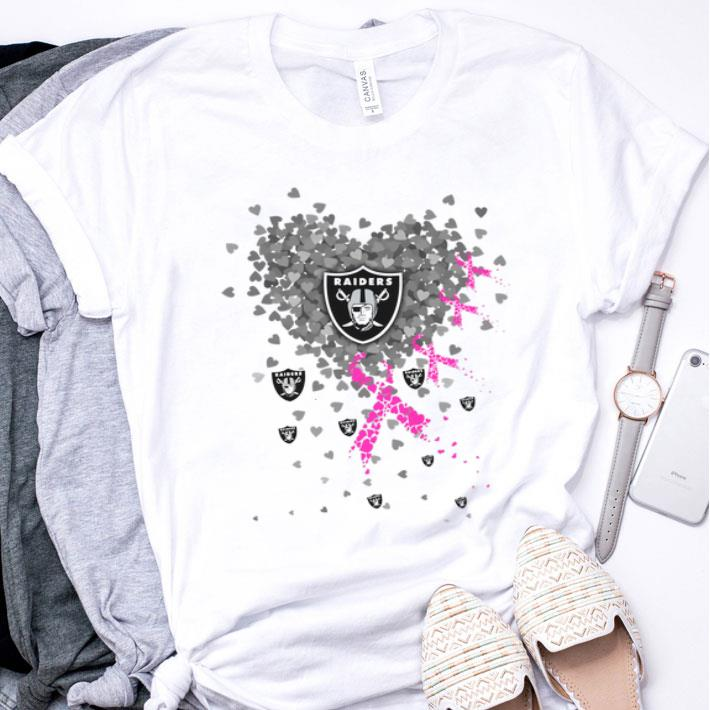 Hearts Oakland Raiders Breast cancer awareness shirt
