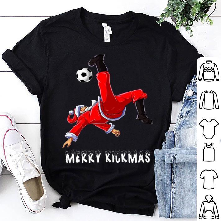 Merry Kickmas Santa Claus playing soccer shirt