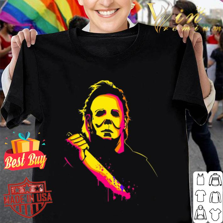 Michael Myers with knife color shirt