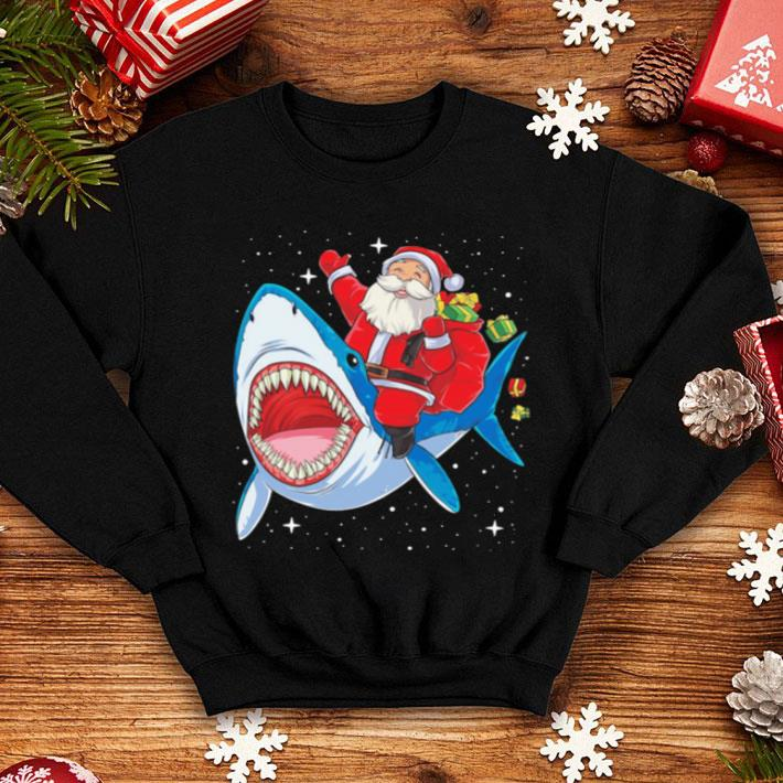 Satan riding shark Christmas shirt