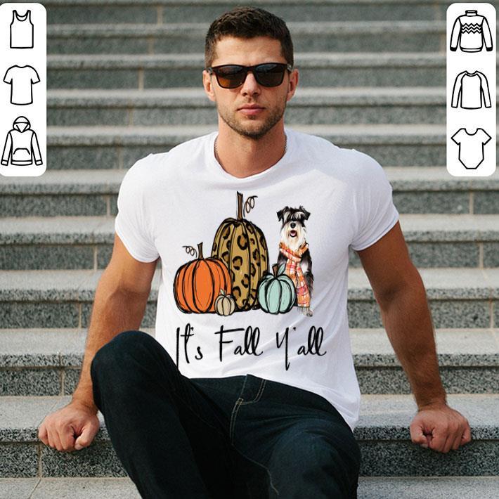 Schnauzer it's fall y'all leopard pumpkin shirt