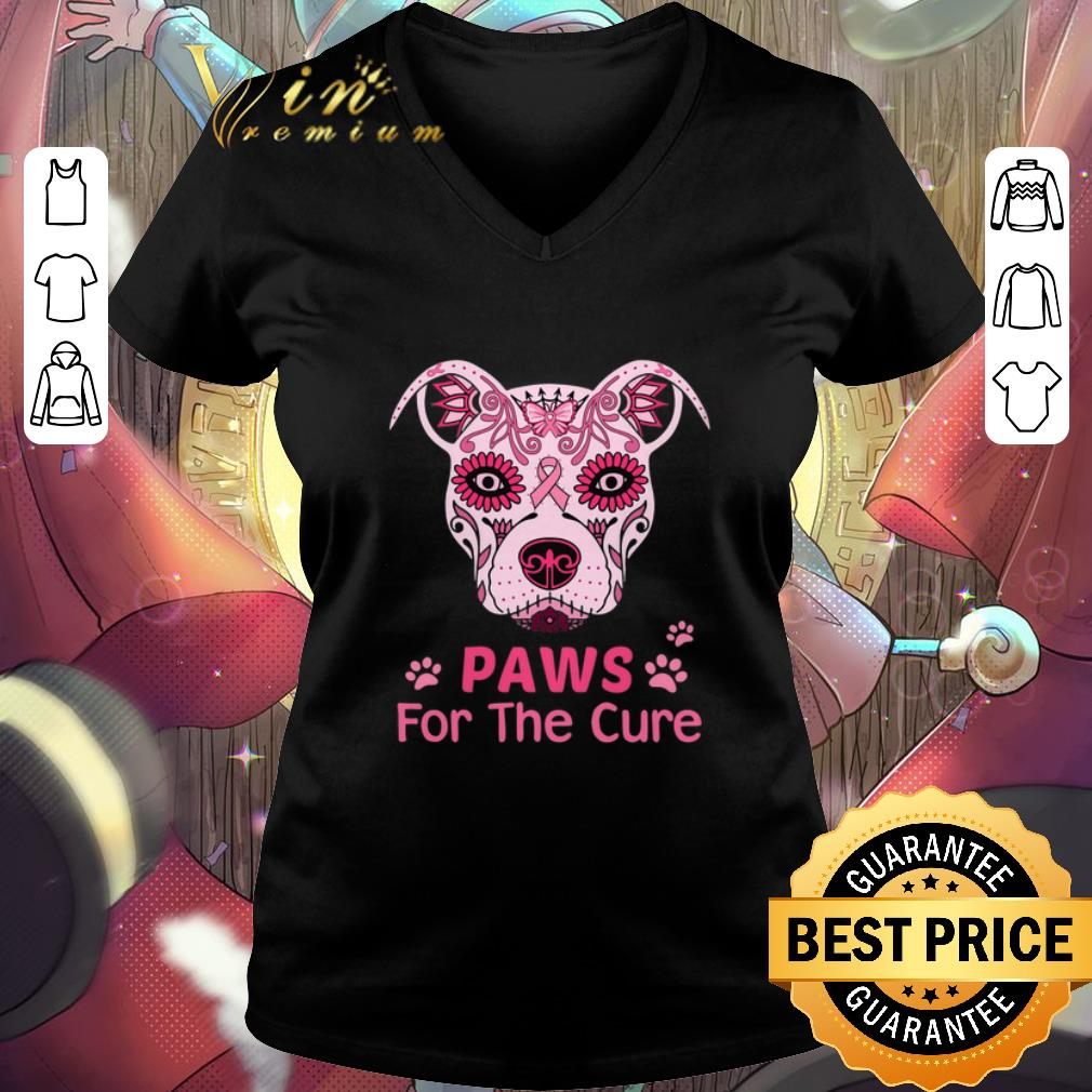 Top Pitbull Paws For The Cure Breast Cancer Awareness shirt
