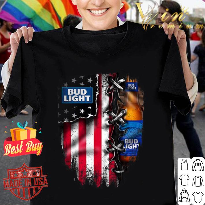 Bud Light inside American flag shirt