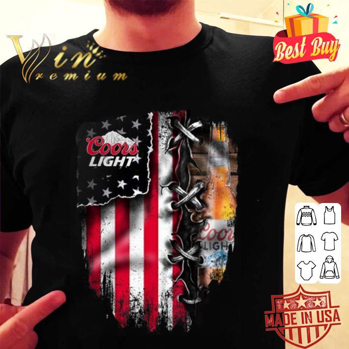 Coors light inside American flag shirt