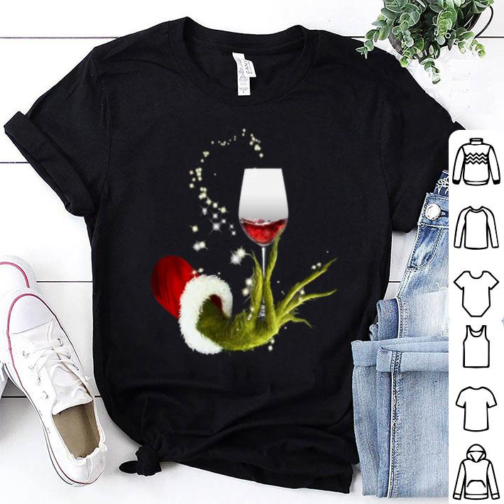 Glitter Grinch holding wine glass Christmas shirt