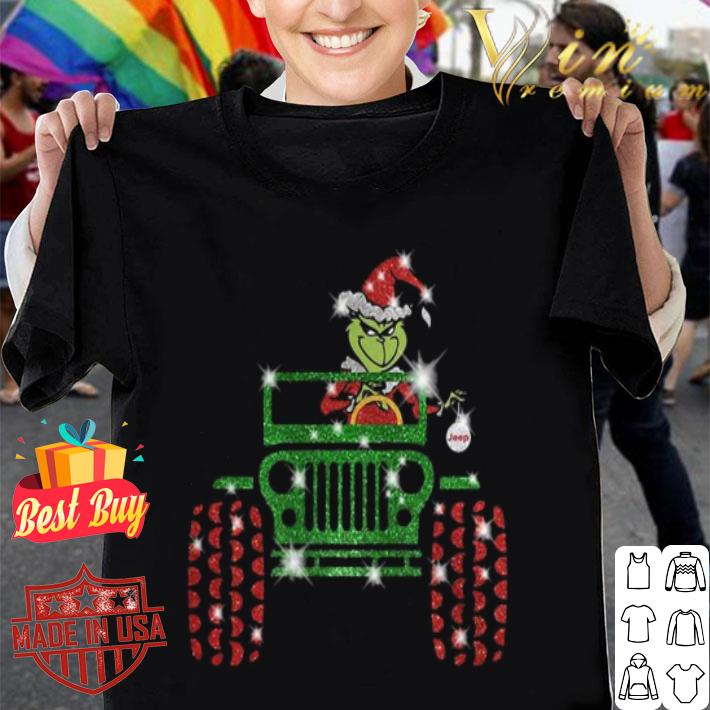 Grinch driving jeep car Christmas shirt