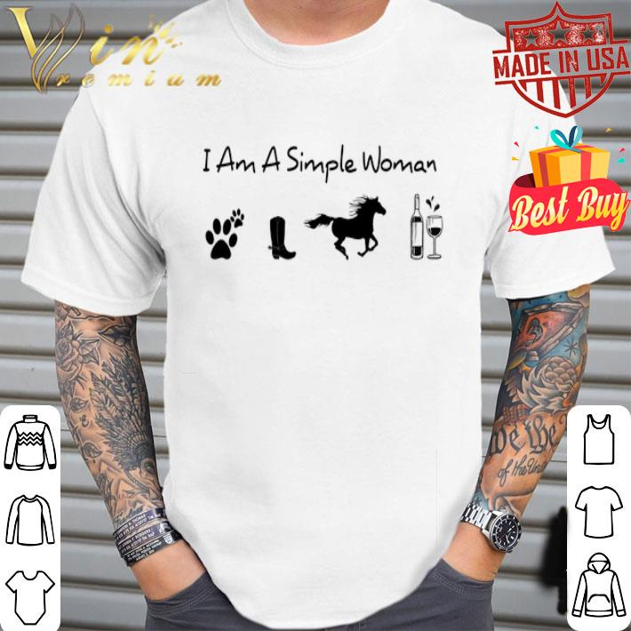 I am a simple woman i like dog paw horse wine shirt