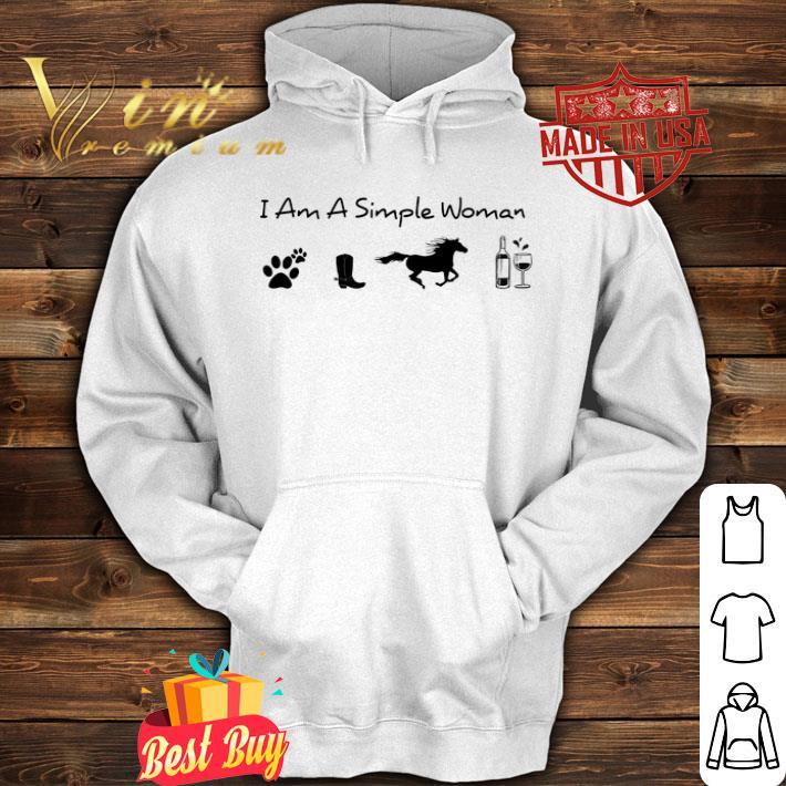 I am a simple woman i like dog paw horse wine shirt