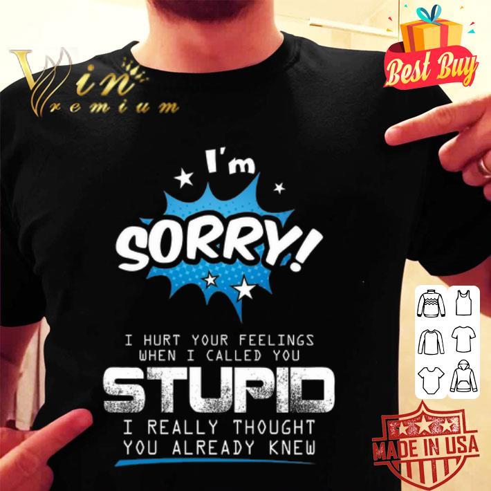 I'm sorry i hurt your feelings when i called you stupid i really shirt