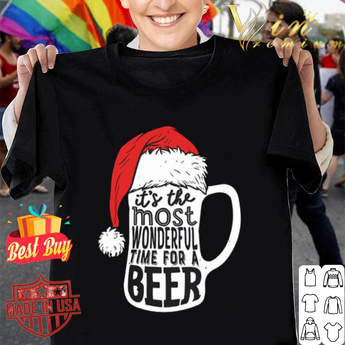 It's The Most Wonderful Time For A Beer Santa hat Christmas shirt