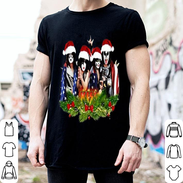Kiss Merry Christmas American Flag shirt