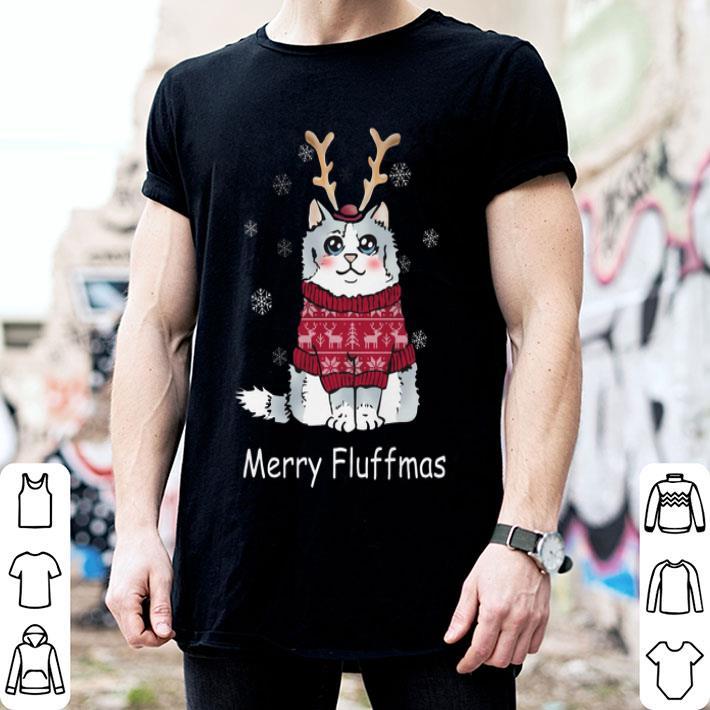 Merry Fluffmas cat Christmas shirt