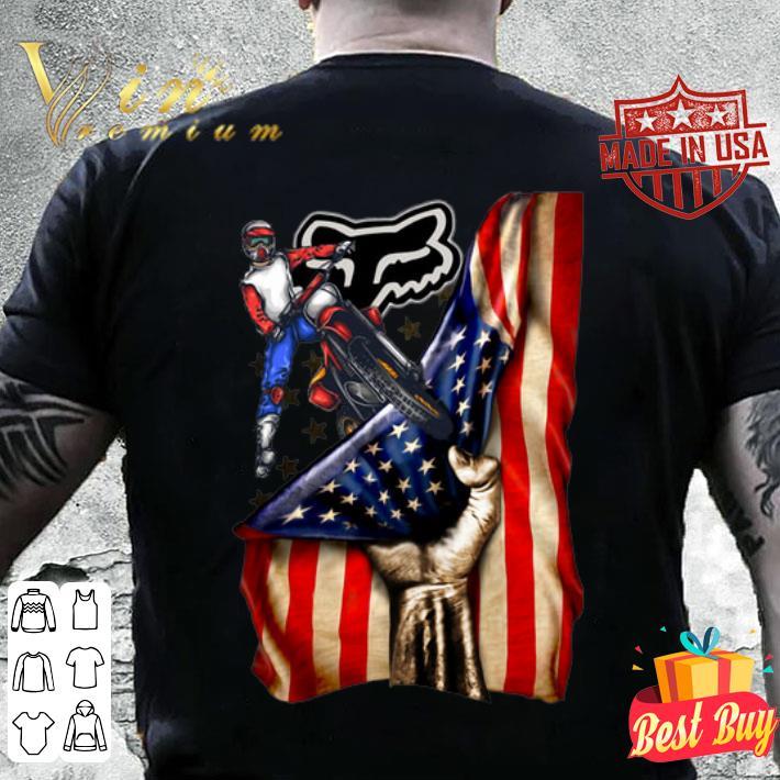 Motorcycle Fox Racing American flag shirt
