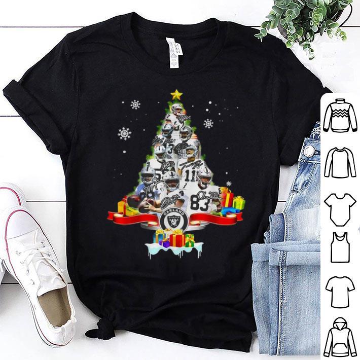 Oakland Raiders players signatures Christmas tree shirt