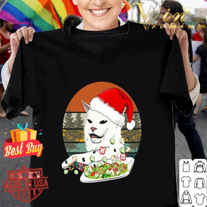 Santa Cat Woman Yelling At A Cat meme Vintage shirt