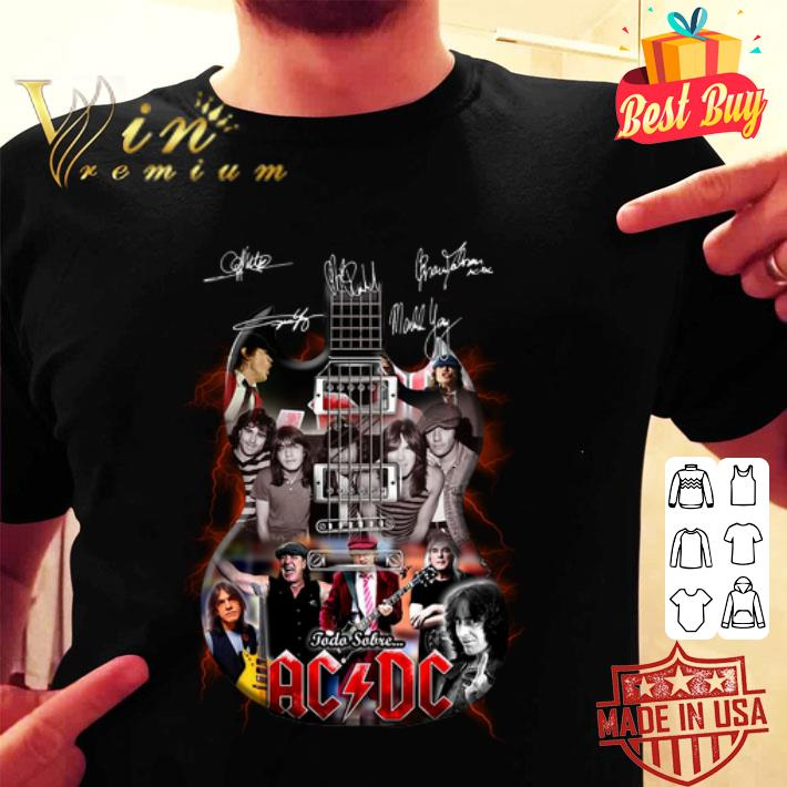 Signatures ACDC band guitarist todo sobre shirt