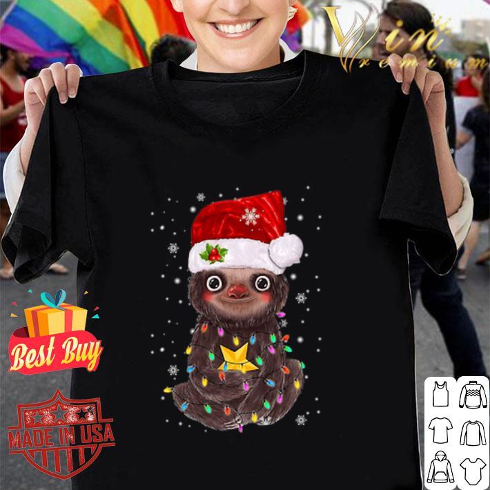 Sloth Santa Christmas Light shirt