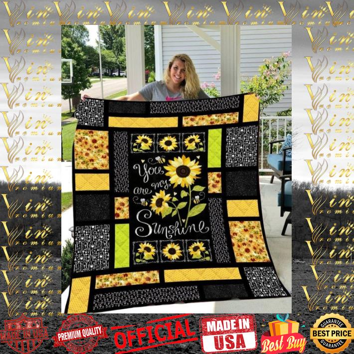 Sunflowers You are my sunshine quilt blanket 1