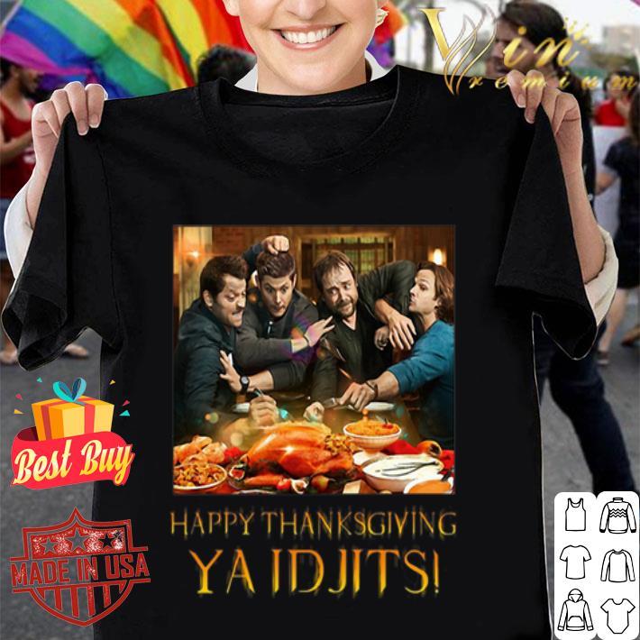 Supernatural characters happy Thanksgiving Ya Idjits shirt