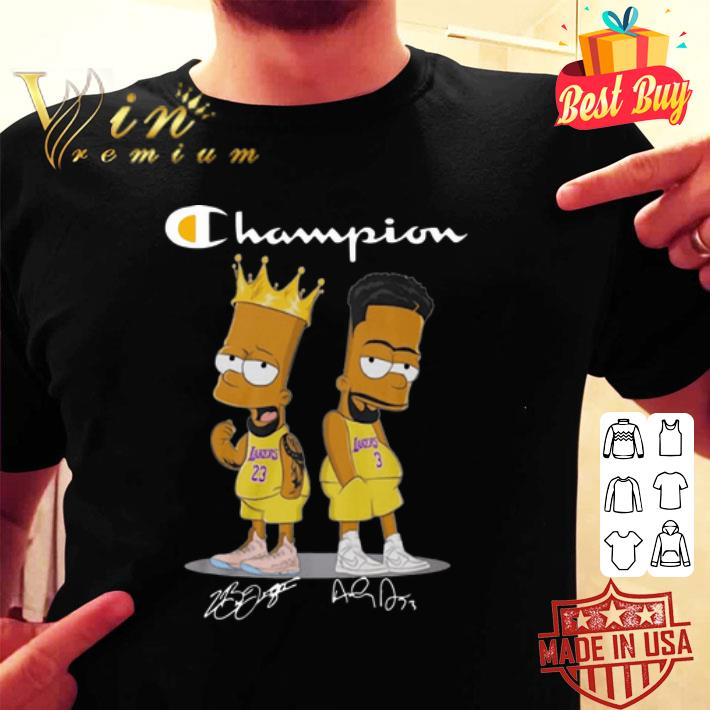 The Simpsons Champion Lebron James Jersey Lakers Signatures shirt
