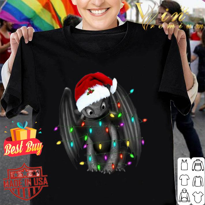 Toothless santa Christmas light shirt