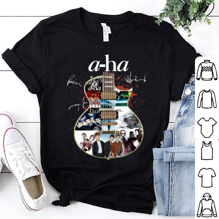 a-ha signatures guitarist shirt