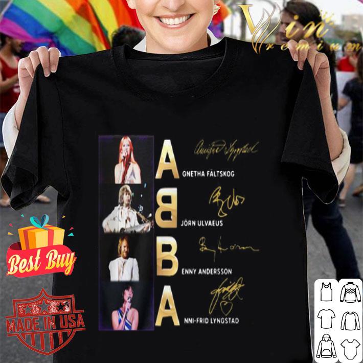 ABBA Agnetha Faltskog Bjorn Ulvaeus Benny Andersson signatures shirt
