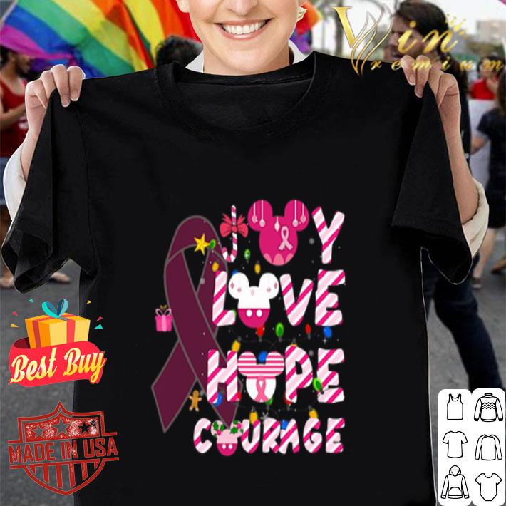 Breast Cancer Joy Love Hope Courage Mickey head Christmas shirt