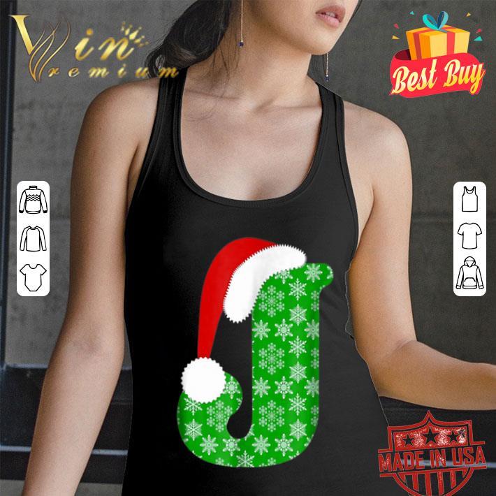 Christmas Santa Hat Monogram Letter J Holiday Gift shirt
