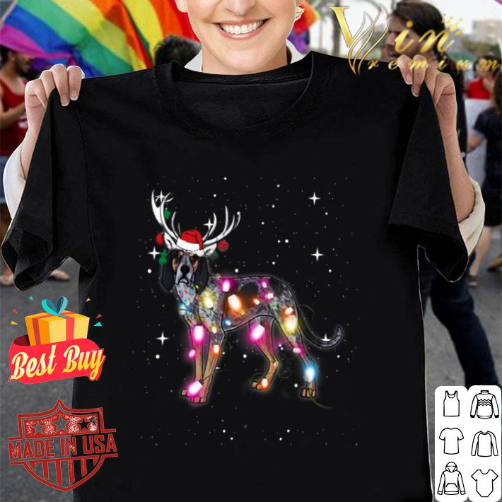 Coonhound santa reindeer Christmas Lights shirt