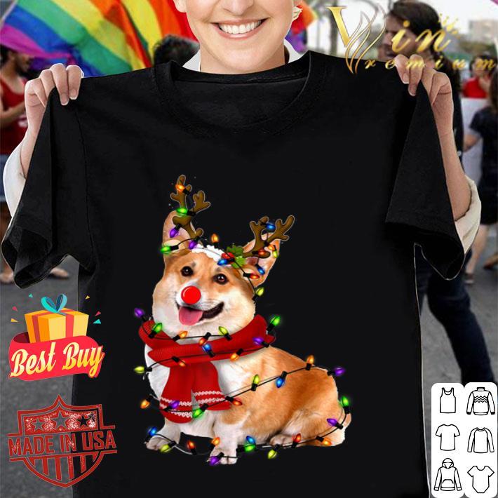 Corgi Reindeer Christmas Lights Pajama Shirt Hoodie Sweater Longsleeve T Shirt