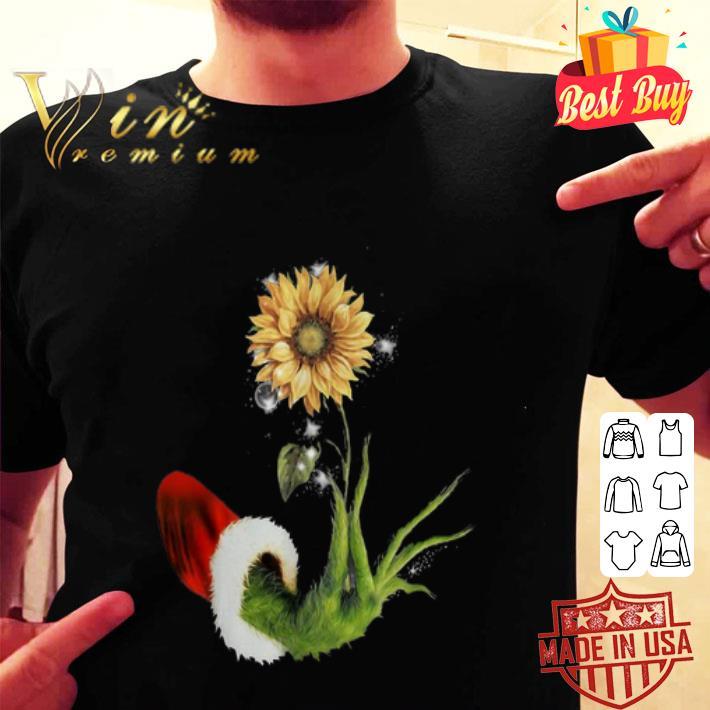 Grinch Santa hand holding sunflower shirt