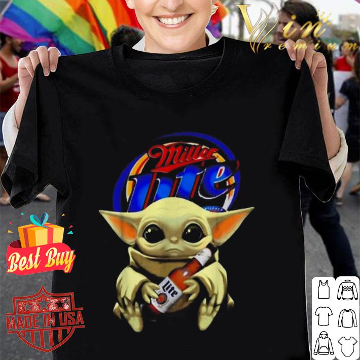 Star Wars Baby Yoda hug Miller Lite Beer Mandalorian shirt