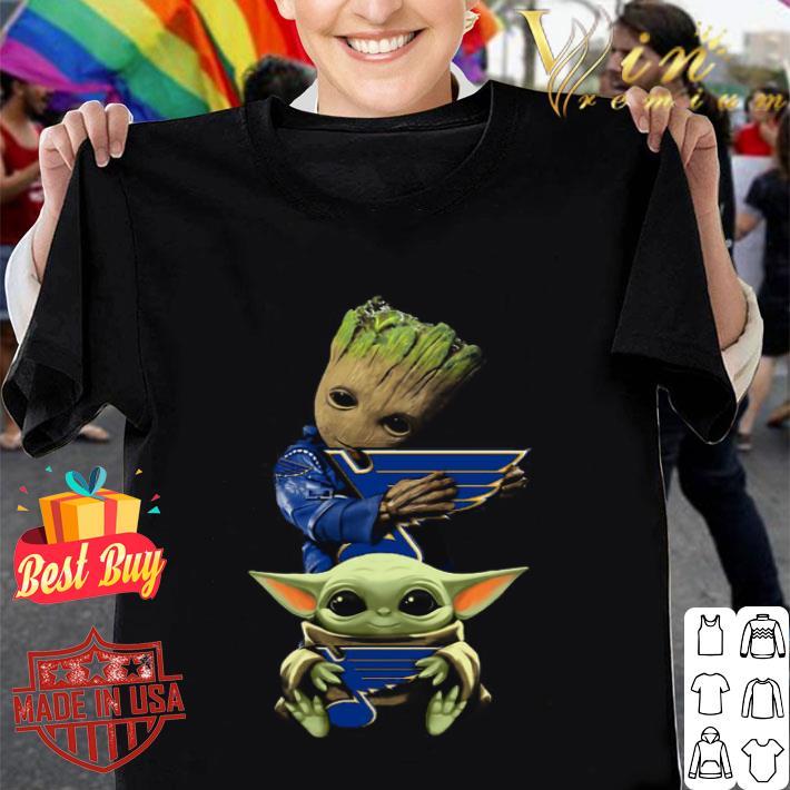 Baby Yoda and Baby Groot hug St. Louis Blues Star Wars shirt