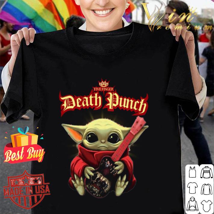 Baby Yoda hug Five Finger Death Punch guitar Star Wars shirt