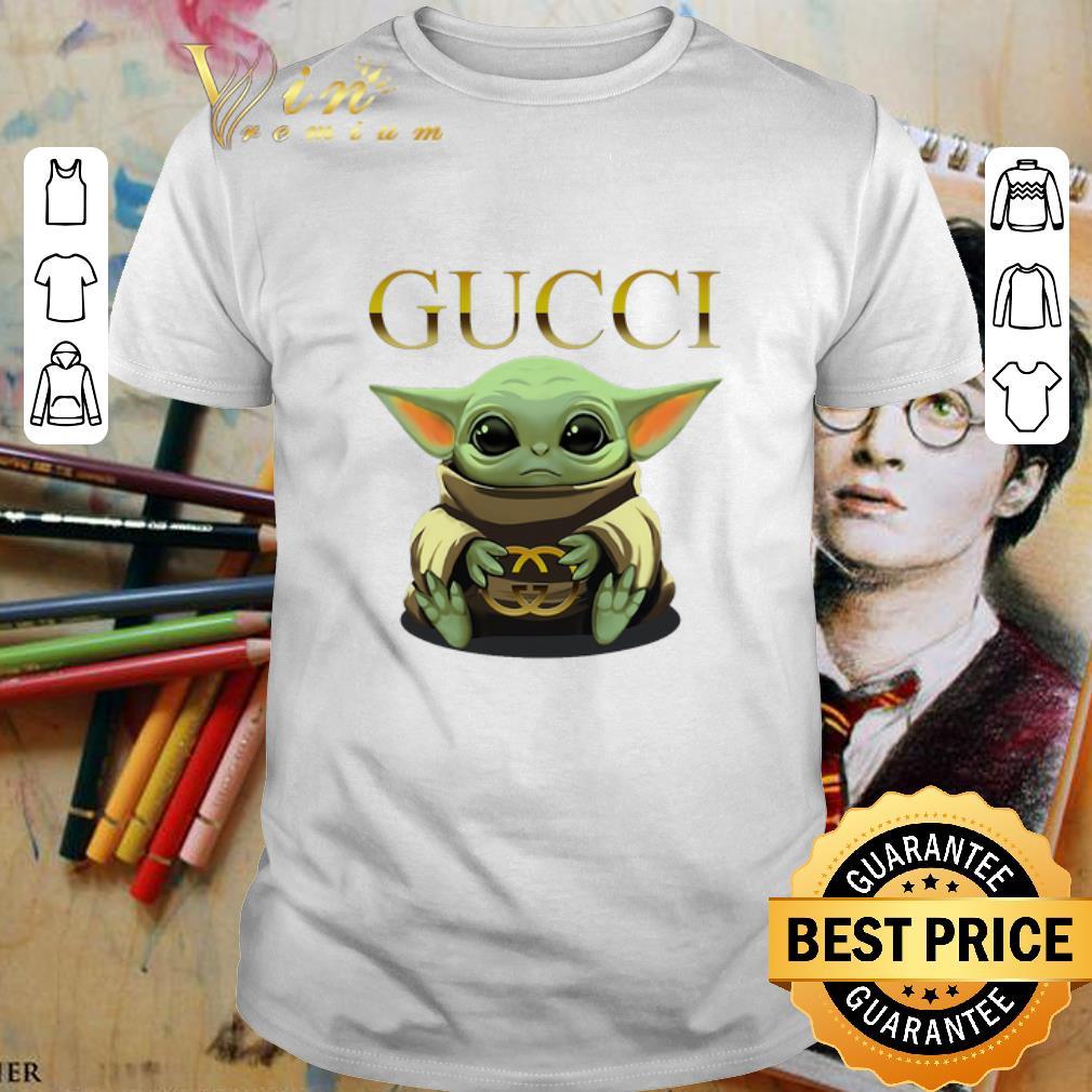 Baby Yoda hug Gucci Star Wars shirt