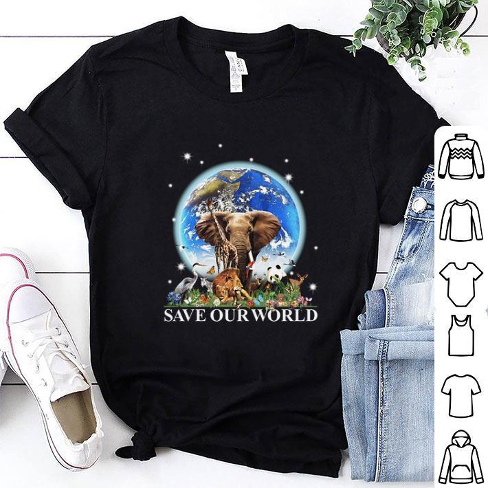 Earth elephant animals save our world shirt 1