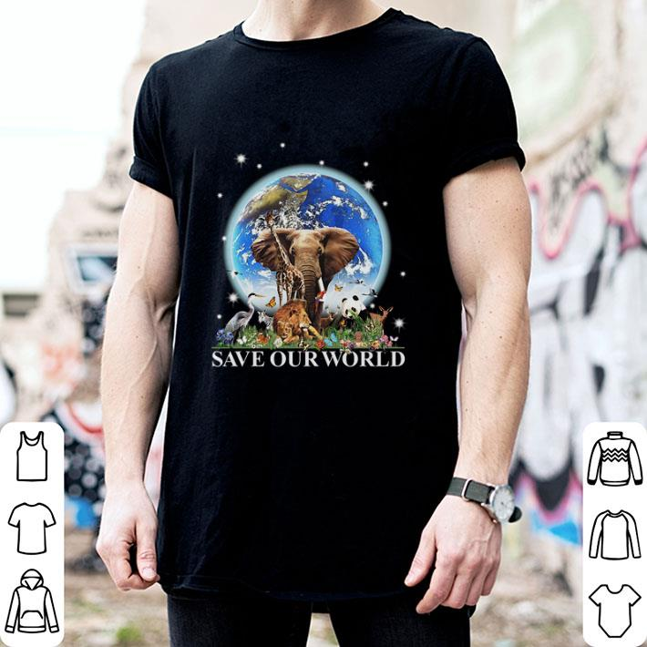 Earth elephant animals save our world shirt