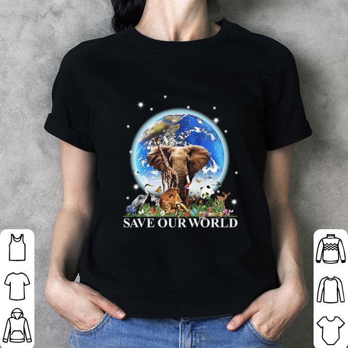 Earth elephant animals save our world shirt
