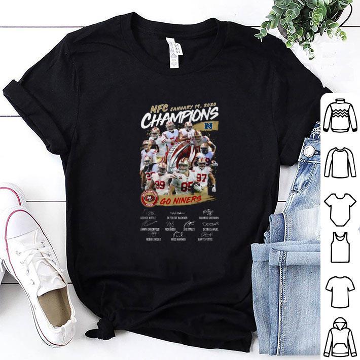 NFC January Champions San Francisco 49ers Go Niners signatures shirt