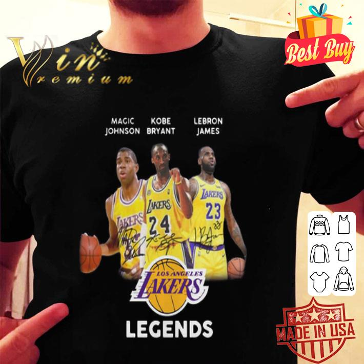 Rip Kobe Bryant Legends signatures Magic Johnson LeBron James shirt