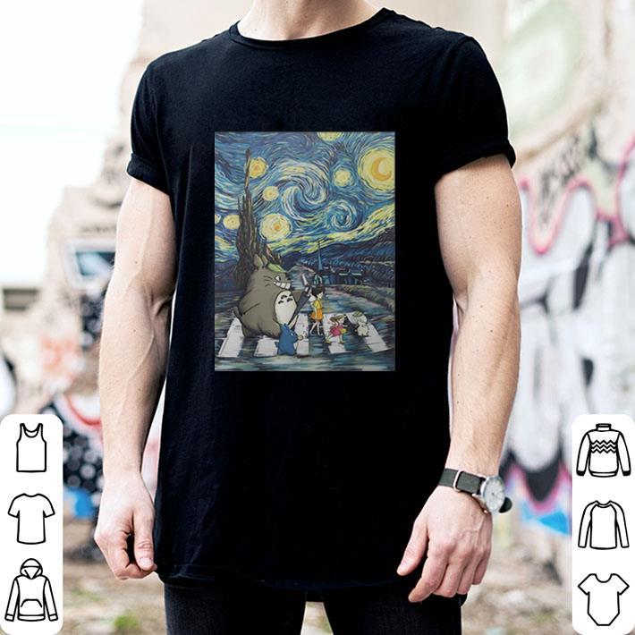 Studio Ghibli Friends And Starry Night Abbey Road Van Gogh shirt