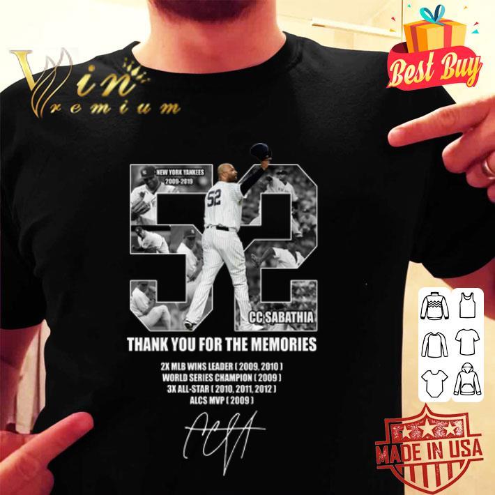 52 CC Sabathia New York Yankees 2009-2019 Thank You For The Memories shirt